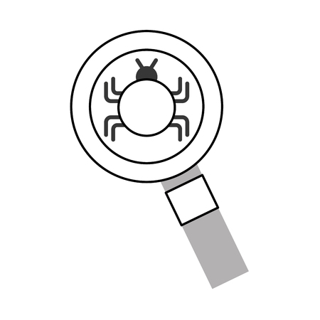 magnifying glass with bug infection virus icon vector illustration design