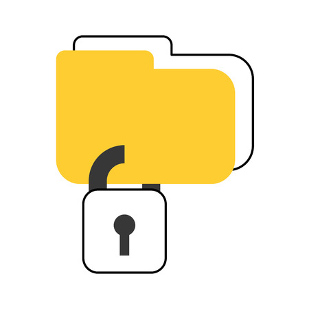 folder with safe secure padlock icon vector illustration design