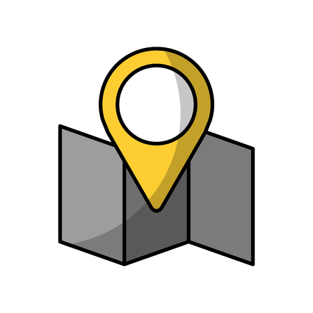 paper map with pointer vector illustration design