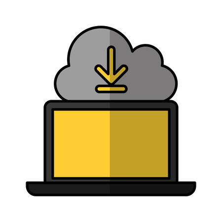 cloud computing with laptop computer vector illustration design