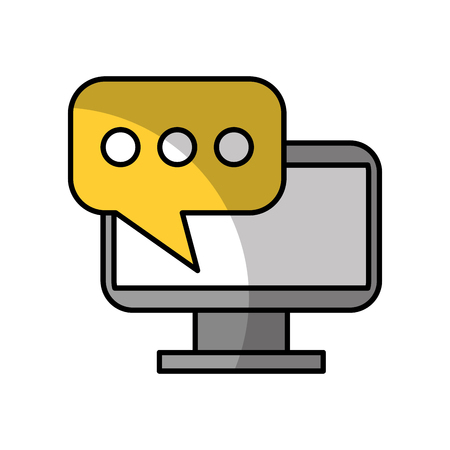 monitor computer whit speech bubblevector illustration design