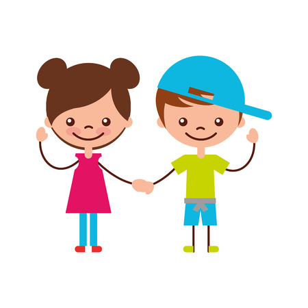 cute kids characters icon vector illustration design