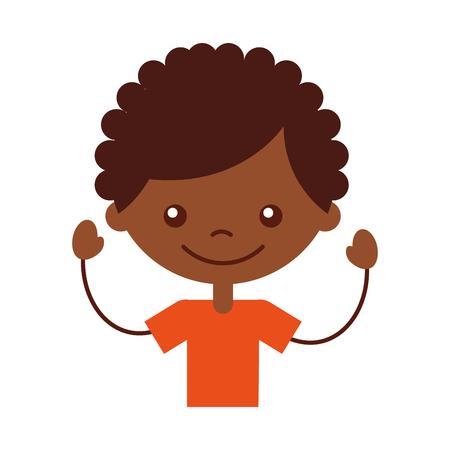 Cute africano ragazzo icona carattere illustrazione vettoriale illustrazione Archivio Fotografico - 81011782