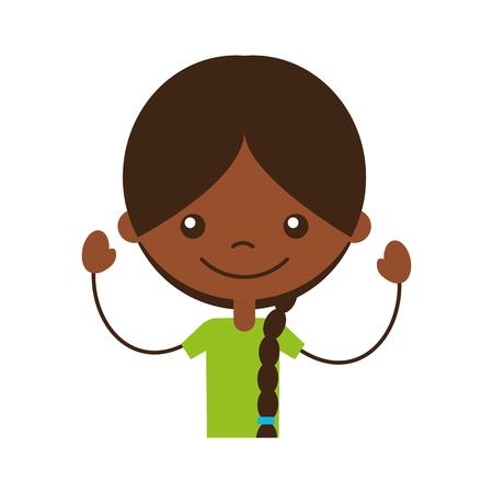 Carino ragazza nera icona carattere illustrazione vettoriale illustrazione Archivio Fotografico - 81011876