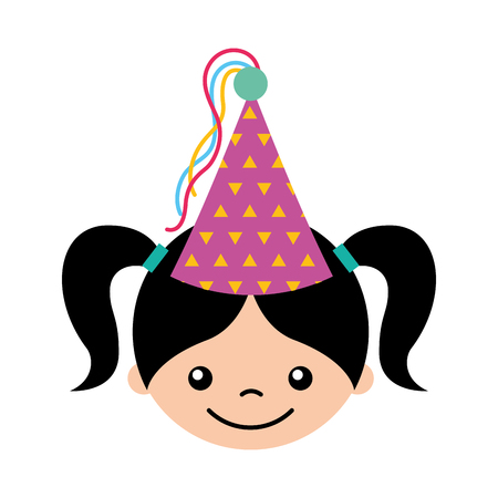 cute girl with party hat character icon vector illustration design