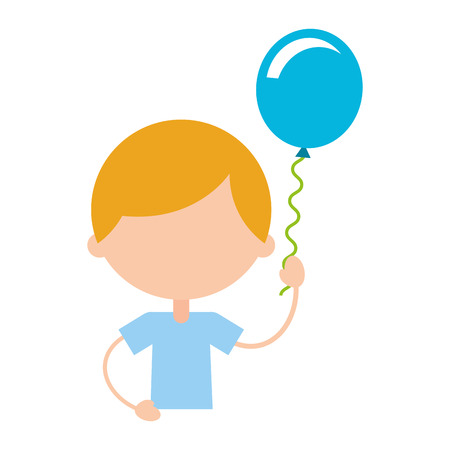 cute boy with balloon air character vector illustration design Ilustrace