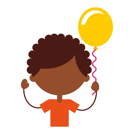 cute african boy with balloons air character icon vector illustration design