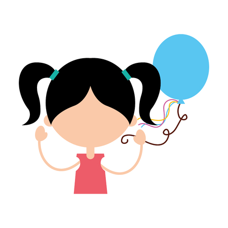 cute girl with party balloon character icon vector illustration design