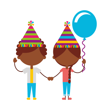 cute black kids with balloons air party characters icon vector illustration design
