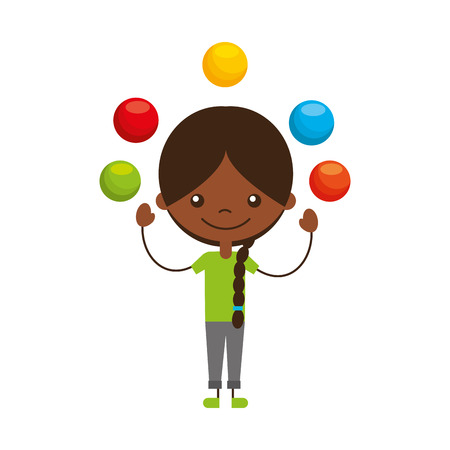 cute girl Juggling balls character icon vector illustration design Vektorové ilustrace