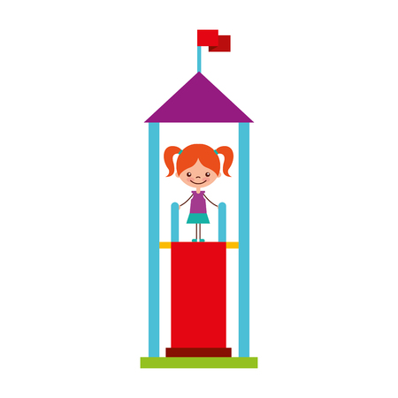 cute girl in childish games character icon vector illustration design