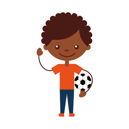 cute african boy with soccer balloon air character icon vector illustration design