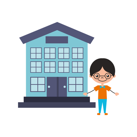 cute boy with school building character icon vector illustration design