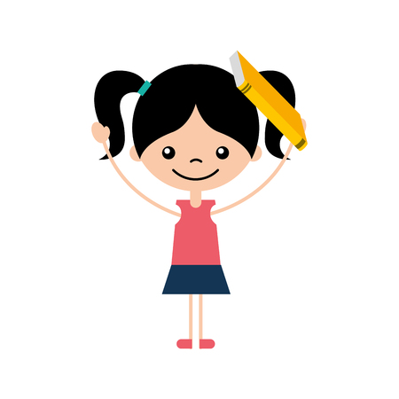 cute girl with book character icon vector illustration design