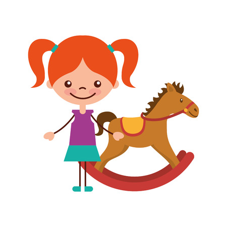 cute girl with horse wooden character icon vector illustration design