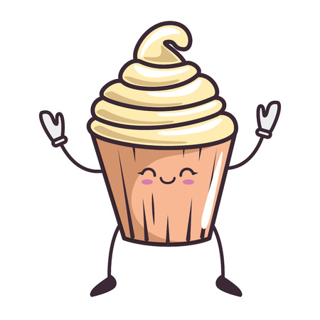 kawaii cupcake icon over white background vector illustration