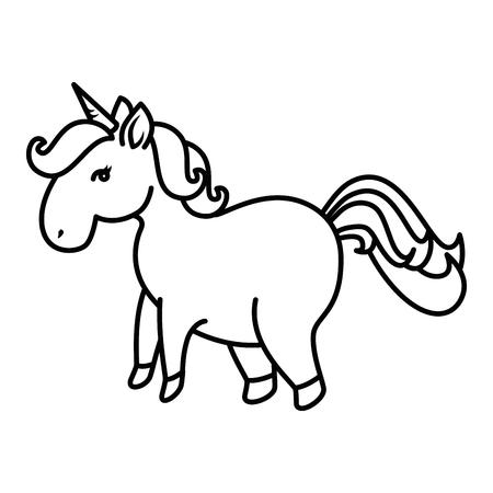 Cartoon unicorn icon over white background vector illustration