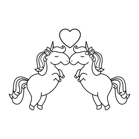 Unicorns with heart icon over white background vector illustration