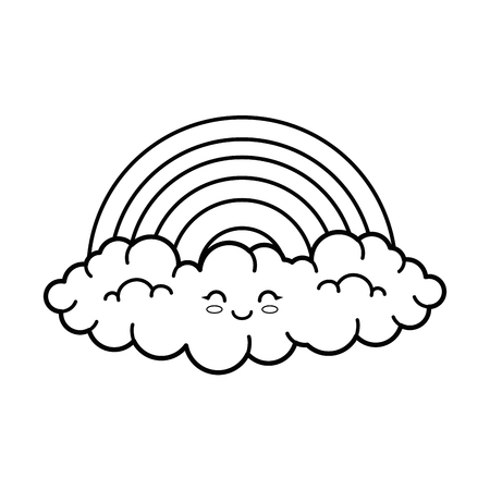 A kawaii rainbow icon over white background vector illustration.