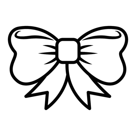 Decorative bow icon over white background vector illustration.