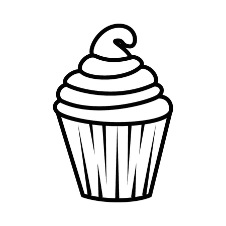 Sweet cupcake icon over white background vector illustration 向量圖像