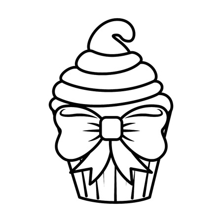 Sweet cupcake icon over white background vector illustration Illustration
