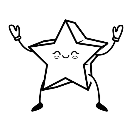 A kawaii star icon over white background vector illustration.