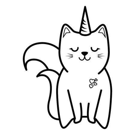 Leuk kattenpictogram over witte vectorillustratie als achtergrond