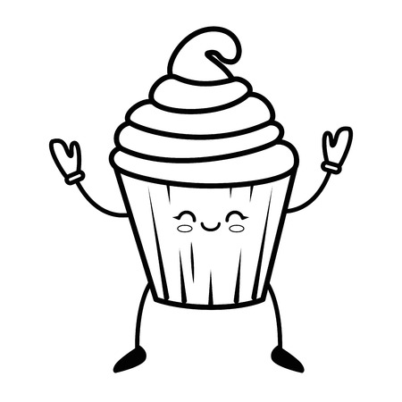A kawaii cupcake icon over white background vector illustration.