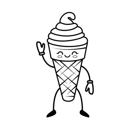 一个卡哇伊冰淇淋图标在白色背景矢量插图。