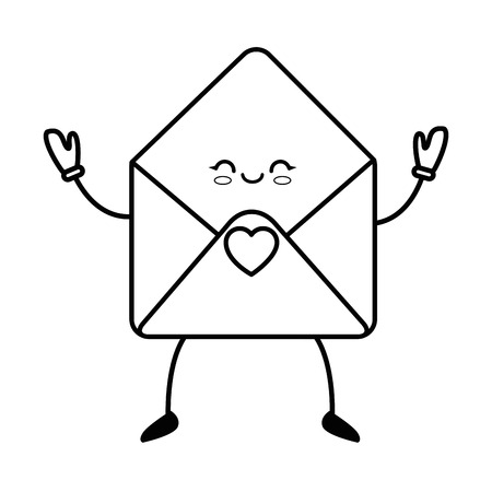A kawaii envelope icon over white background vector illustration.