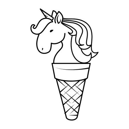 Unicorn face in ice cream cone icon over white background vector illustration Illustration