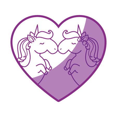 Heart with unicorns icon over white background vector illustration. Çizim