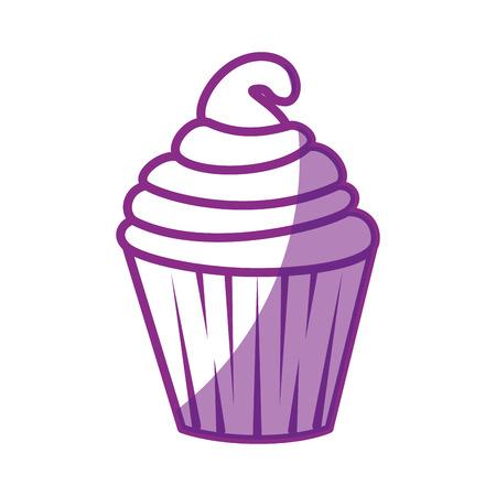 白背景ベクトル イラスト上の甘いカップケーキ アイコン