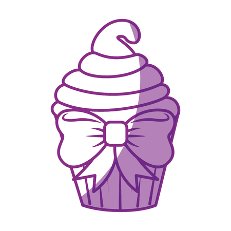 sweet cupcake icon over white background vector illustration Ilustração
