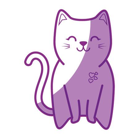 schattige kat icoon over witte achtergrond vector illustratie Stock Illustratie