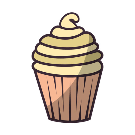 sweet cupcake icon over white background vector illustration Ilustrace