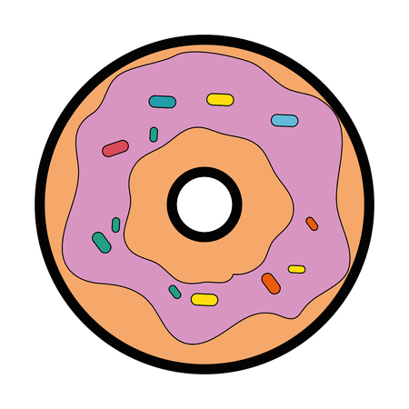 donut icon over white background colorful design vector illustration Stock fotó - 81066292