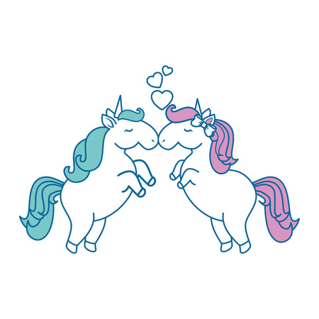 Unicorns with hearts icon over white background colorful design vector illustration Stok Fotoğraf - 81065553