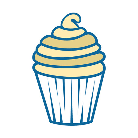 Cupcake icon over white background colorful design vector illustration