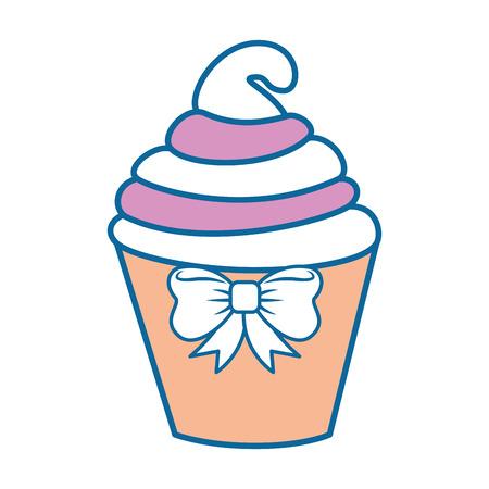 흰색 배경 위에 컵 케 잌은 아이콘 화려한 디자인 벡터 일러스트 레이 션