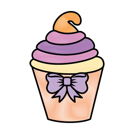 cupcake icon over white background colorful design vector illustration Ilustração