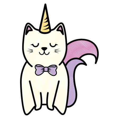 schattig kitty pictogram over witte achtergrond kleurrijke ontwerp vectorillustratie