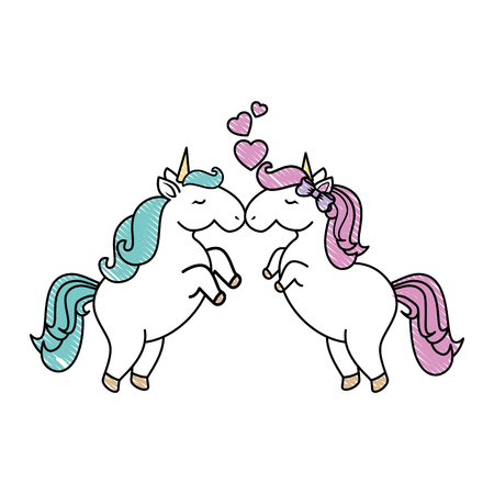 unicorns with hearts icon over white background colorful design vector illustration