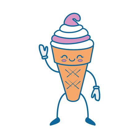 卡哇伊冰淇淋图标在白色背景彩色设计矢量插图
