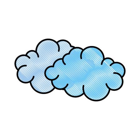 흰색 배경 위에 구름 아이콘 화려한 디자인 벡터 일러스트 레이 션 일러스트
