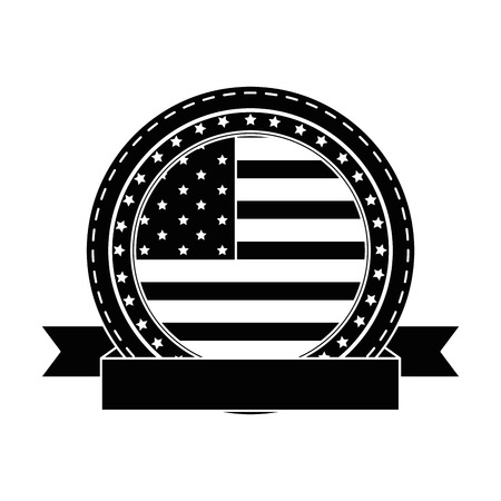 seal stamp with usa country flag icon over white background vector illustration