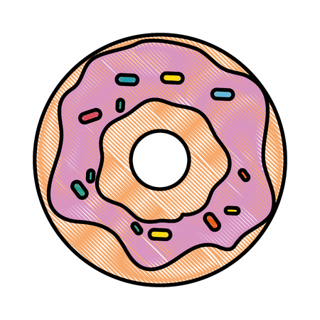 A donut icon over white background colorful design vector illustration. Ilustrace