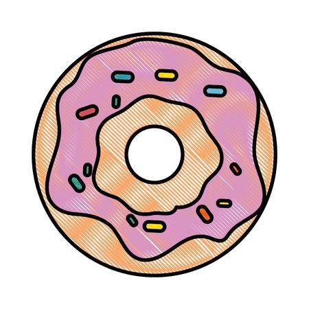 A donut icon over white background colorful design vector illustration. Illustration
