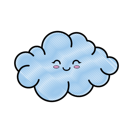 A kawaii cloud icon over white background colorful design vector illustration. Illustration